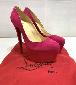 100%Authentic Christian Louboutin Daffodil Platform Pumps Heels Pink Suede Rare!