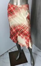 Roberto Cavalli Women's  Knee Length Patterned Skirt Red, Beige Size Small