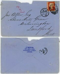 PENNY RED PERFIN on COVER 1879 J.T MORTON + CO to DARTFORD KENT Plate 201