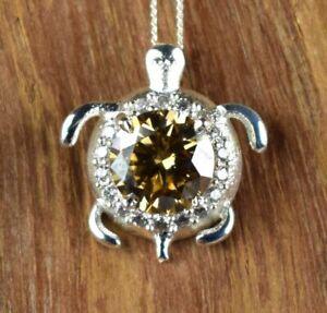 Designer 3.39 Ct Champagne Diamond Solitaire 925 Sterling Silver Turtle Pendant