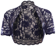 Ladies Navy Blue Lace Short Sleeve Bolero Shrug Sizes 6-30
