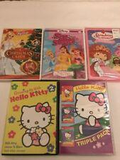 Lot Of Five Little Girls Dvds Hello Kitty Barbie Disney Princess Strawberry