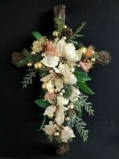 "20"" x 30"" Cross White Poinsettia Holiday Decor Grave Alter or Home Dec Religious"