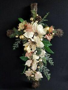 "20"" x 30"" Cross White Poinsettia Holiday Decor Grave Alter or Home Dec Religious"