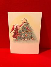 Vtg Curious George Christmas Card Collectible Tree Star Santa Gingerbread Man