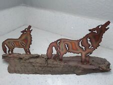Outstanding vintage folk art handmade metal and wood table sculpture