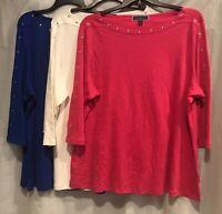 Karen Scott Women's Plus Sizes 3/4 Studded Sleeve Boat Neck Top, Pink/White/Blue
