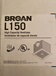 BROAN Ventilator Fan Ceiling L150 High Capacity