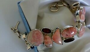 ✨ QUALITY ✨ 39g sterling silver 925 fully HM rhodochrosite garnet pearl bracelet