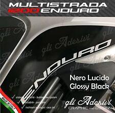 2 Adesivi DUCATI MULTISTRADA 1200 Enduro fianco serbatoio BLACK Gloss Lucido