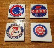 Chicago Cubs Logos 4x4 Ceramic Coasters Handmade set of 4