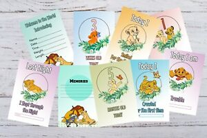 Baby Milestone Cards Lion King Pack of 33 Cards New Mum to be 300 gsm