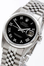Rolex Men's Datejust Steel Black Roman Dial & Gold Fluted Jubilee 16014 Quickset