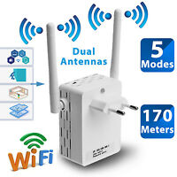 300Mbps Wall Plug 2.4Ghz Wireless Range Extender WiFi Repeater Router Antennas