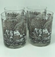 Set of 4 Brown Currier & Ives Drinking Glasses Winter Old Grist Mill Scene