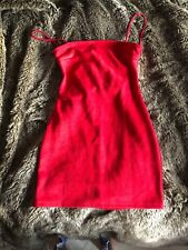 Size 12 Inthestyle Red Suede Fitted Dress