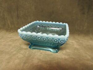Ca 1900's Davidson Glass England Greek Key & Daisy Square Blue Opalescent Bowl