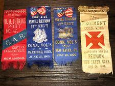 4 CIVIL WAR reunion ribbon 12th Regiment CT Volunteers 1880s-1903