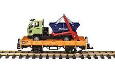 LGB Niederbordwagen hellbraun mit Muldenkipper-Lastwagen, Spur G Gartenbahn