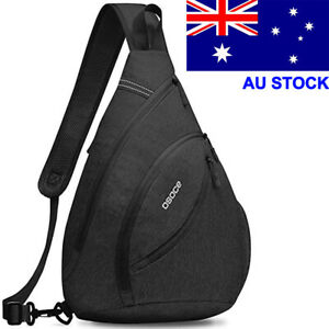 Black Large Men Women Sling Bag Shoulder Chest Pack Waterproof Crossbody Bag