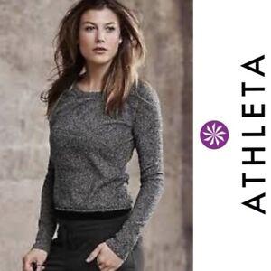 NWOT $178 Athleta Heather Gray 100% Cashmere V-Stitch Pave Cropped Sweater sz M