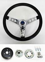 """1968-1969 Charger Dart Coronet Black & Chrome Steering Wheel 14 1/2""""  Horn Kit"""