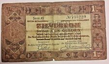 1 GULDEN ZILVERBON NETHERLANDS 1938 P-61 SERIE AS
