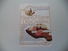 advertising Pubblicità 1985 SALAMI NEGRONI