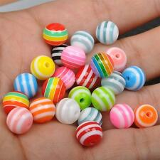 50pcs 100Pcs Multicolor zebra stripe round resin Loose beads spacer charms 10mm