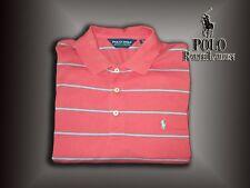Ralph Lauren Polo Golf Men's MEDIUM Salmon / Blue Striped Polo w/ Blue Pony