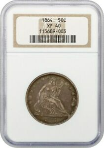 1864 50c NGC XF40 - Liberty Seated Half Dollar