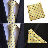 Men Yellow Blue Flower Silk Necktie Pocket Square Handkerchief Set Lot HZBWT078