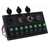 12V 8Gang LED Schaltpanel Kippschalter Schalttafel Für Auto Bus Marine Boot Grün