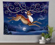 Christmas Santa Elk Snowy Forest Tapestry Wall Hanging Living Room Bedroom Dorm
