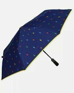 RALPH LAUREN Unisex Navy Blue Automatic Open/Close Rain Umbrella Brolly New