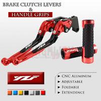Adjustable Folding Brake Clutch Levers Handle Grips Set for YAMAHA YZF R1 09-14