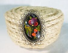 Vintage plastic or wood floral cameo brooch pin hand painted filigree