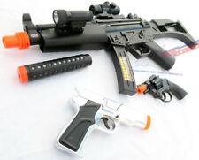 2x Toy Guns Military HUGE Elec. MP5  w/ Silencer & Silver Pistol 9MM Toy Gun Set