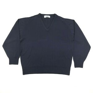 Pringle of Scotland Sweater Jumper Mens XL Blue Wool V Neck Made in England