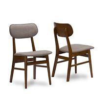 Sacramento Mid-Century Dark Walnut Wood Grey Fabric Dining Chair Set Of 2 NEW