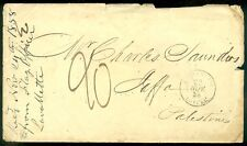 PALESTINE : Very Scarce 1858 Stampless cover from France via Alexandria