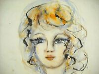 Drawing Original Lavis Portrait A Young Woman 1972 Signature IN Determine