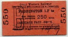 Great Western Railway Ticket Paddington 1.F to 250 miles - Bicycle