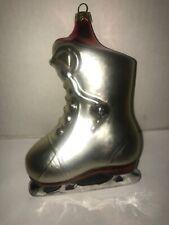 """Hockey Skate Christmas Ornament Blown Glass Silver/Red 6.5"""""""