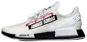 """Adidas NMD R1 V2 White Black Red """"Overbranded"""" H02537 Sneakers NEW"""