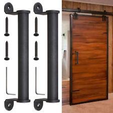 "2pcs 10"" Sliding Barn Door Cylindrical Handle Cast Iron Pull Gate Matte Black"