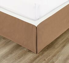 """Chezmoi Collection Solid Coffee Pleated Dust Ruffle Bed Skirt 15"""" Drop"""