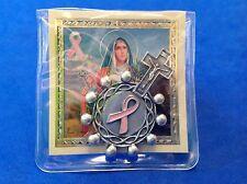 St AGATHA Breast Cancer Pocket Finger Rosary Pink Enamel Saint Case Holy Card