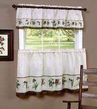 Botanical Flowers 3 Piece Small Kitchen Window Curtain Set