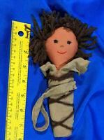 "Antique Rag Doll Folk Art Yarn Cloth 8"" Baby Native American Cradleboard-Style"